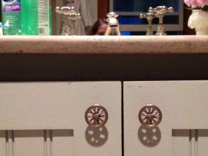 Bike Wheel Knobs enhance a renovated master bathroom