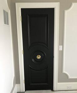 Custom Escutcheon on Black Door